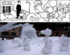 Here are some of the best snowmen nightmares, where fans of the Calvin and Hobbes comic strip created real life, unhappily ever after tributes of the snowmen series. Calvin And Hobbes Snowmen, Snow Sculptures, Funny Pins, Funny Stuff, Nerd Stuff, Random Stuff, Funny Comics, Funny Cute, Jokes