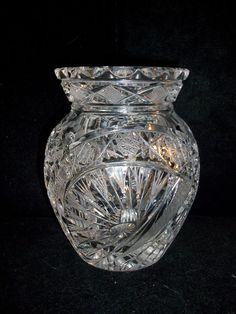 American Brilliant crystal cut glass | Vintage Large American Brilliant Crystal Hand Cut Glass Vase 5.5""