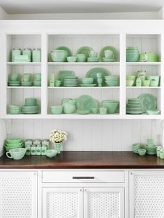 These green glass pieces will put your kitchen shelves and cupboards in mint condition.
