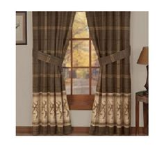 "BROWNING BUCKMARK Rod Pocket Curtain Drapes-Hunting Window Treatment -Length 84"" #BROWNING #HuntingLodgeCabinRanchWildlife"