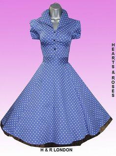 H London Blue Polka Dot Vintage Swing Dress