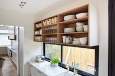 The Block 2021 kitchen room reveal photos. The Block Kitchen, Bookcase, Shelves, Places, Room, Photos, Home Decor, Bedroom, Shelving