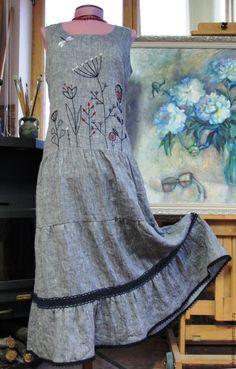 Купить Платье летнее, льняное - серое льняное платье, летнее платье натуральное, платье для женщины