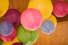 Gone are the days when these where only seen in student digs. Use multi coloured ones hung at different lengths.