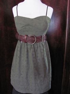 Jodi Kristopher Olive Green Eyelet Dress Small Juniors BELT NOT INCLUDED #JodiKristopher #Sundress #Casual