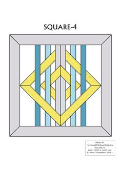SQUARE-4 Stained glass pattern, Mosaic pattern, Painting glass pattern, to DOWNLOAD PDF, Suncatcher, Window panel, Window handing ויטראז by VitrageMosaicDesign on Etsy