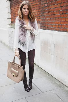 Blouse + faux fur + black