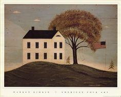 Warren Kimble saltbox house and flag