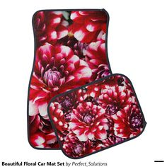 4 Piece Whimsical Pink Flower Carpet Mats Front Rear Universal Car Truck SUV