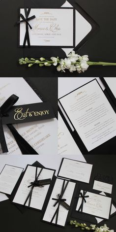 Foiled Black and White Wedding Stationery Collection. Gold metallic foil onto crisp luxurious paper with a glitzy trim and bow tag detailing. Perfect for a prestige, traditional wedding. Part of the 'EMPEROR' collection by Paper Date.