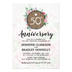 50th Wedding Anniversary Rustic Country Floral Card - chic design idea diy elegant beautiful stylish modern exclusive trendy