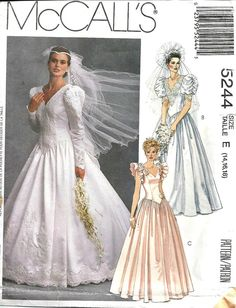 Wedding Dress Pattern McCall's 5244 Vintage 1990's by TheSewingGin, $20.00