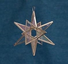 Moravian-Star-Glass-Christmas-Tree-Holiday-Ornaments-4-Cobalt-Blue-Iridescent