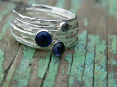 Aquamarine Blue Spinel and Iolite Fine Silver by WireReform