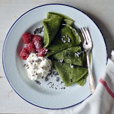Matcha Crêpes with Whipped Cream, Berries, and Cacao Nibs   Turntable ...