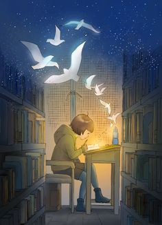 fly fly fly~ by 楚王妃 / Illustration I Love Books, Books To Read, My Books, Reading Art, Girl Reading, Reading Books, Children Reading, Children's Book Illustration, Illustrations