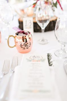 This personalized Moscow mule mug wedding favor is one of our WeddingWire editors' top picks. WeddingWire has tons of wedding favor recommendations at all price points. Click for more wedding favor ideas. Planning your wedding has never been so easy (or fun!)! WeddingWire has tons of wedding ideas, advice, wedding themes, inspiration, wedding photos and more. {Jacquelynn Brynn Photography}