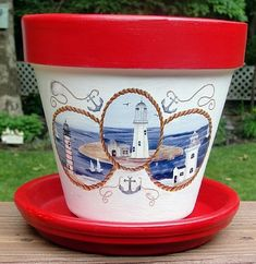 Lighthouses hand-painted flower pot