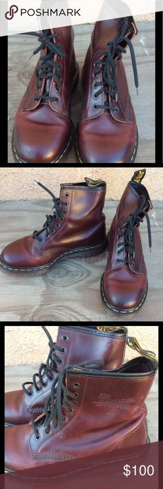 DR. MARTENS WOMEN BOOTS Gorgeous burgundy color boots, well taken care of, all most new Dr. Martens Shoes Lace Up Boots