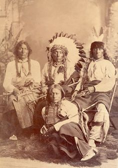 Iron Thunder with Crow Eagle, Slow White Buffalo and Fool Thunder - Two Kettle band 1888.  Hunkpapa Lakota leaders.  By D.F. Barry.