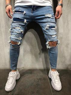 Men's Street Style Knee Out Ripped Jeans 4273 Ripped Jeans Style, Ripped Jeans Men, Torn Jeans, Patched Jeans, Skinny Jeans, Men's Jeans, Men Street Look, Street Wear, Streetwear Jeans