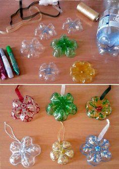 ORepurposed plastic pop / water bottles for Christmas ornaments!!!