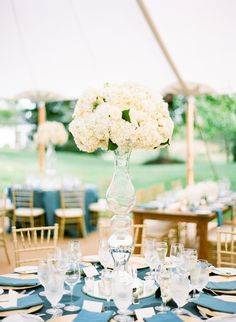 White Flower Centerpiece in Tall Vase   Inn Walden in Aurora, Ohio   Floral Arrangements by Blooms by Plantscaping   Shi Shi Events   Arielle Doneson Photography https://www.theknot.com/marketplace/arielle-doneson-photography-boston-ma-344943  