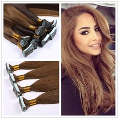 """16""""-26""""Brazilian Virgin Hair Blonde Tape in Hair Extensions Straight Invisible PU Skin Weft Hair"""