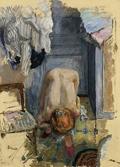 The Athenaeum - Crouching Nude Leaning Forward (Pierre Bonnard - ) Pierre Bonnard, Edouard Vuillard, Paul Gauguin, Figure Painting, Painting & Drawing, Painting Lessons, Figurative Kunst, Art History, Modern Art