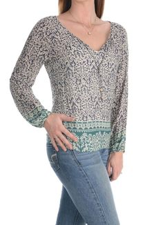 Lucky Brand Womens Hippie Blouse Shirt Sexy Boho Peasant V Neck Tunic Top Size S