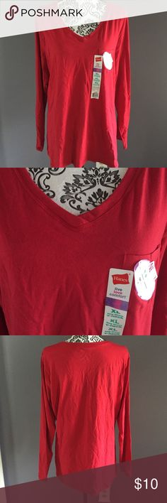 NWT Hanes Top This top is made long! Thin enough to wear under another top if you like. Hanes Tops Tees - Long Sleeve