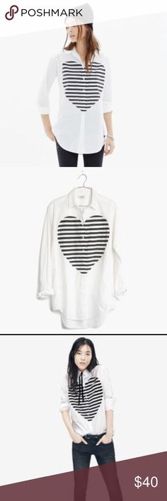 Madewell heartbeat shirt, XS An oversized fit with a genius side inset inspired by a men's tailoring. Bold heart graphic Pair perfectly with slim jeans or leather leggings.  Slightly oversized fit  Cotton  XS Madewell Tops Button Down Shirts