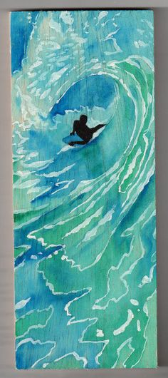 Green Room - Bodyboarder watercolor on wood by Bobby Doran***Research for possible future project.