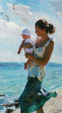 (Russia) Woman with Baby by Michael & Inessa Garmash (1969-  , 1972-   ).