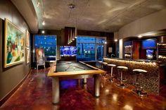 бильярдная комната с барной стойкой
