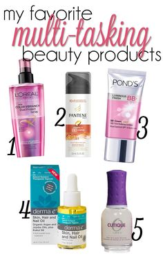 multitasking beauty products for face, skin, lips, hair and nails