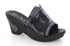 Blinged out wedge with textured fabric and crystals!
