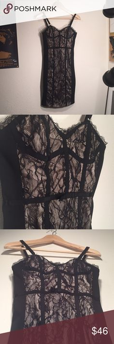 bebe Lace Overlay Corset Dress, Black and Cream Like New: item is in perfect condition and shows no signs of wear: Offers Welcome  bebe Corset Dress -Rayon/Cotton/Spandex, with lace and satin detail -Size Extra Small -Detailed bodice -Form-fitting bebe Dresses Mini