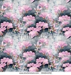 Magnolia. Watercolor. Seamless pattern. Branches are flowering. Wallpaper. Use printed materials, signs, posters, postcards, packaging.