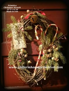 Primitive Grapevine Christmas Wreath (Made In USA) Grapevine Christmas, Prim Christmas, Winter Christmas, Christmas Holidays, Christmas Ideas, Cowboy Christmas, Christmas Porch, Father Christmas, Christmas 2019