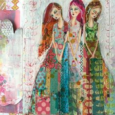 Unusual folk art, with patterns, polka dots, fabric prints and girls with long hair. Jane Davenport Art. Please also visit www.JustForYouPropheticArt.com for colorful inspirational Prophetic Art and stories. Thank you so much! Blessings!