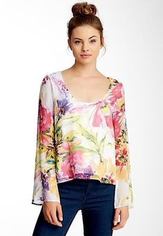 NWT YUMI KIM Floral Printed Top White Silk Long Sleeve Bell Blouse Easter SM 4 6 #YumiKim #Blouse #Casual