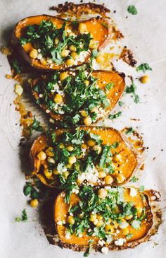 Roasted Sweet Potato with Chickpeas, Cilantro, and Feta.