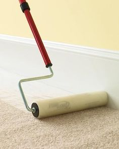Painters Trip: cover carpet before painting by putting plastic wrap on a roller and rolling it out
