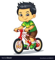 Boy riding new red bicycle vector image on VectorStock Drawing For Kids, Art For Kids, Kindergarten Activities, Activities For Kids, Flashcards For Kids, Islamic Cartoon, Art Articles, Special Kids, Cartoon Kids