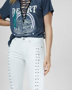 lace-up jean legging