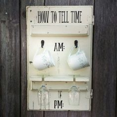 How to tell time wine and coffee display. #flawedtofabulousonetsy #flawedtofabulous #flawedtofabulousopenhouse #reclaimedrepurposedreloved #winedecor #coffeedecor