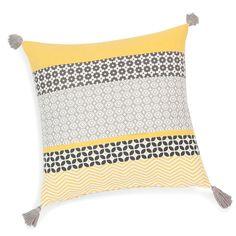 Kissenbezug mit Troddeln aus Baumwolle, gelb/grau, 40 x 40 cm, SUNNY