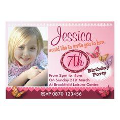 Photo Card Birthday Invitation Girls Birthday Photo Invitation - Any Age