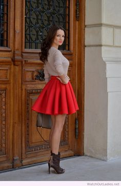 Fairytale red skirt and brown accessories